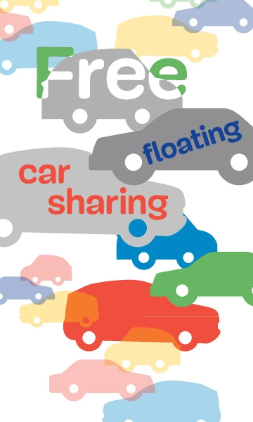 Car silhouettes with text free floating car sharing