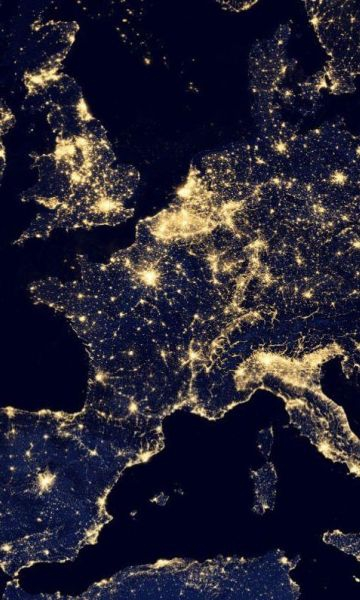 Europe from the sky at night