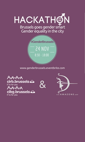 Poster of the hackathon Open Data Brussels goes gender-smart