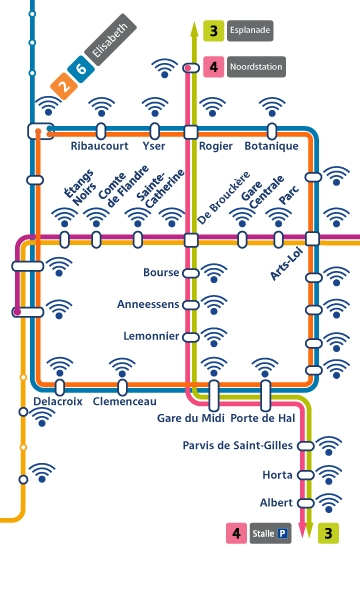 Map of the wifi.brussels covering in Brussels metro