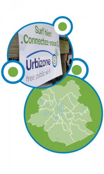 Illustration of an Urbizone wifi hotspot